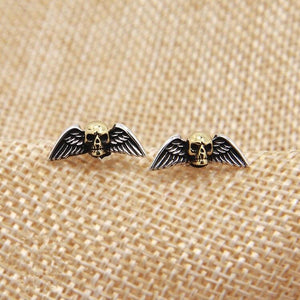 Solid Silver 925 Punk Skull Wing Stud Earring Men Women Gothic Punk Style 100% Real 925 Sterling Silver Cool PersonalityJewelry | Tête De Mort Passion Shop