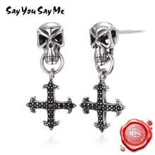 Charger l'image dans la galerie, Say You Say Me 925 Silver Cross Earrings Motorbiker Accessories Gothic Style Skull Earrings Dropshipping Wholesales | Tête De Mort Passion Shop