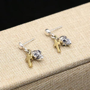 Real Pure 925 Sterling Silver Skull Earrings For Women With Gold Color Jesus Cross Pendant Vintage Style Dangle Drop Earrings | Tête De Mort Passion Shop