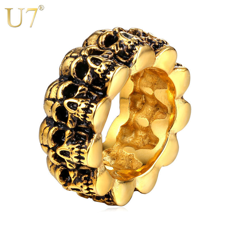 U7 Stainless Steel Ring For Men Jewelry New Trendy Gold Color Punk Rock Style Skull Men Bands Ring Vintage R424 | Tête De Mort Passion Shop