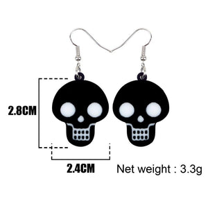WEVENI Acrylic Halloween Cute Black Skull Earrings Drop Dangle Punk Decorations Jewelry For Women Girls 2018 Party Brincos Gift | Tête De Mort Passion Shop