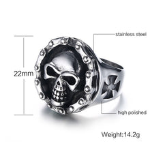 Charger l'image dans la galerie, Men's Stainless Steel Ring Motorcycle Chain Skull Cross Hallows' Day Halloween Jewellery | Tête De Mort Passion Shop