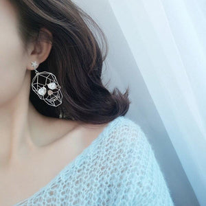 Korean personality wild hiphop retro Halloween punk skull earrings hollow metal temperament dangle earrings for women | Tête De Mort Passion Shop