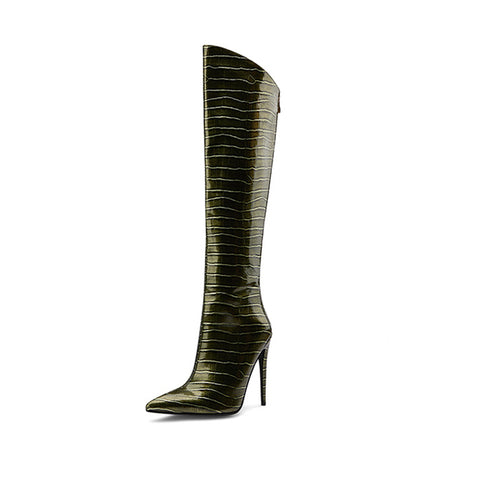 TinaCus Womens Glossy Patent Leather Handmade Stiletto Mid Heel Pointed Toe Slip On Knee High Boots