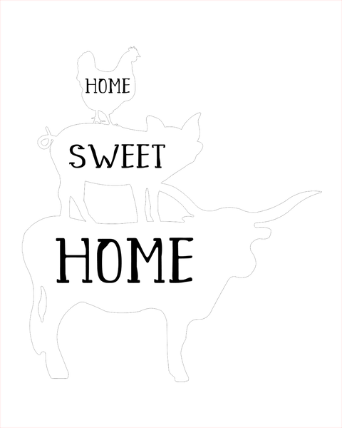 Home Sweet Home farm animals 8x10 DIGITAL FILE ONLY