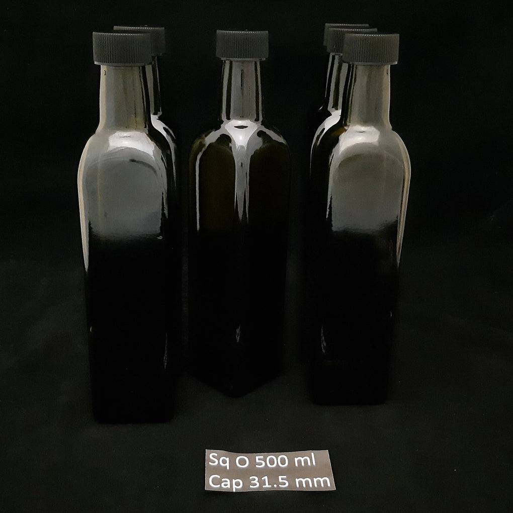 Bottle 500ml Olive Square x 6 + Caps Poly Black x 6