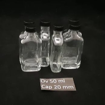 Bottle Oval 50ml x 6 + Caps Poly Black x 6