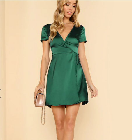 Green silk wrap dress love sylvie blog perfume