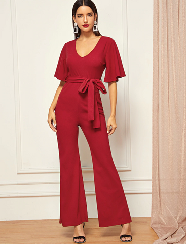 Red holiday jumpsuit pantfsuit flare legs