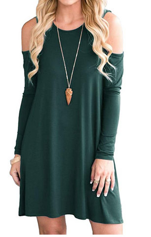 Green cold-shoulder holiday dress under $20 from amazon