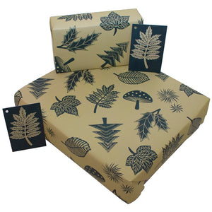 Linocut Leaves wrapping paper
