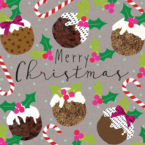 'Festive Puddings' - Pack of 10 Christmas cards