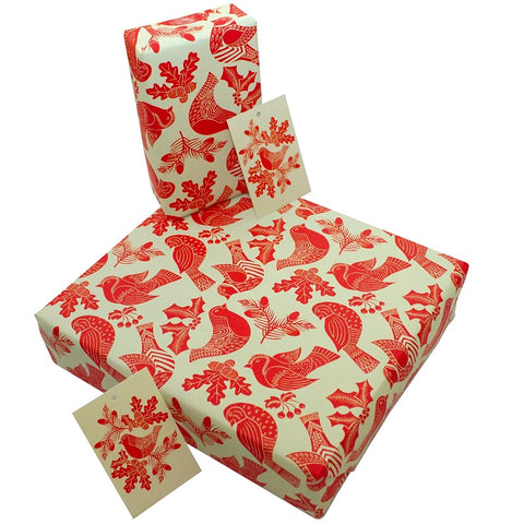 Christmas Folk Robins wrapping paper