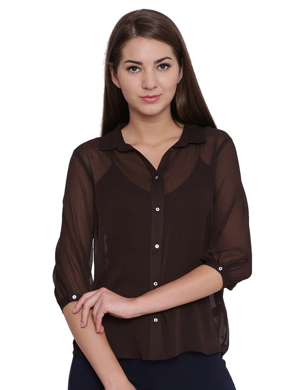 Lara Solid Brown Blouse
