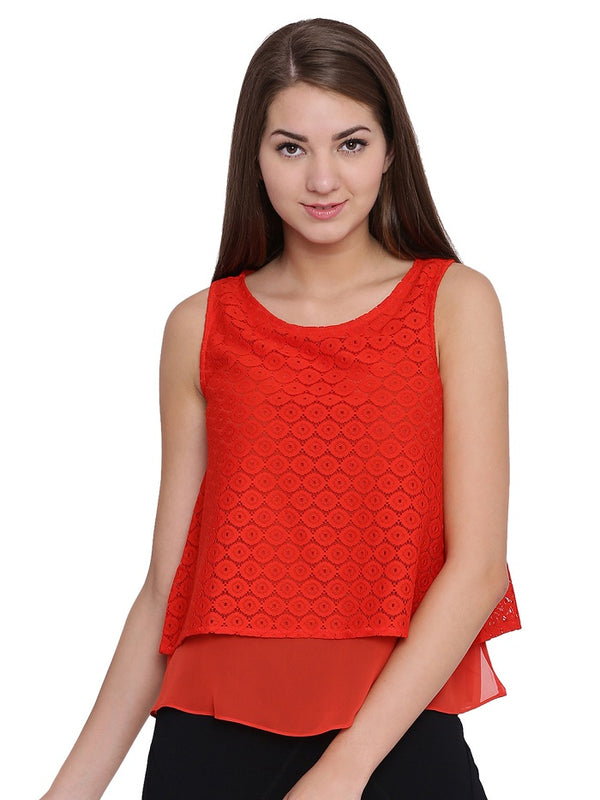 Imogen Red layered Top