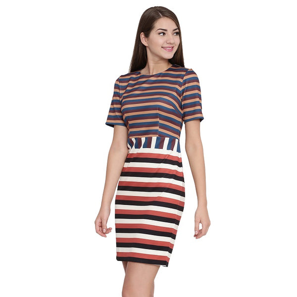 Retro Stripe Printed Dress