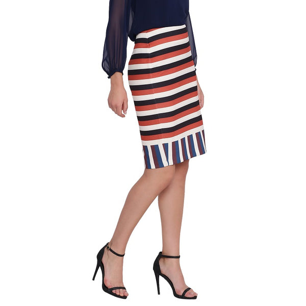 Retro Stripe Printed Skirt