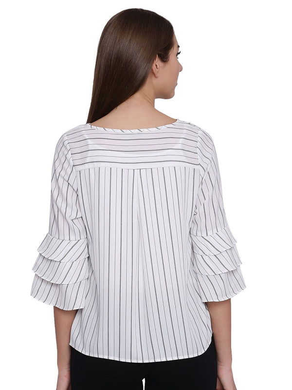 Striped Bell Sleeves Top