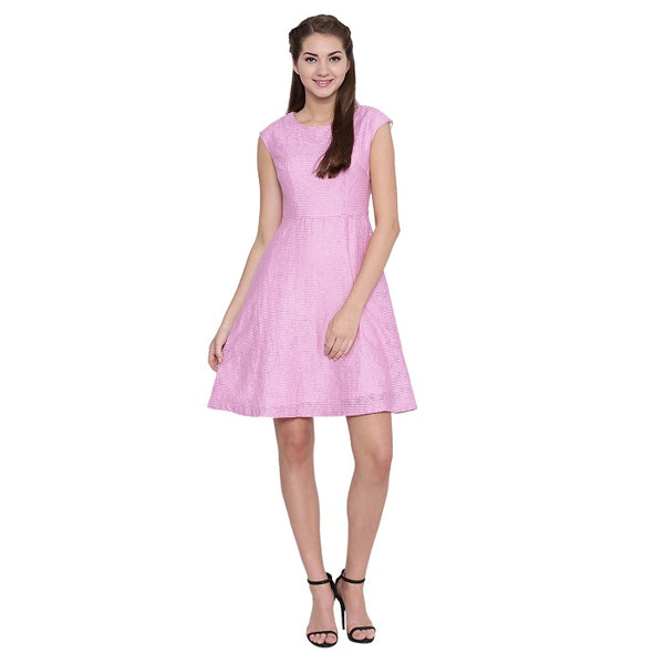 Pink Self Striped dress