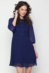ROYAL BLUE MANDRIN COLLAR DRESS