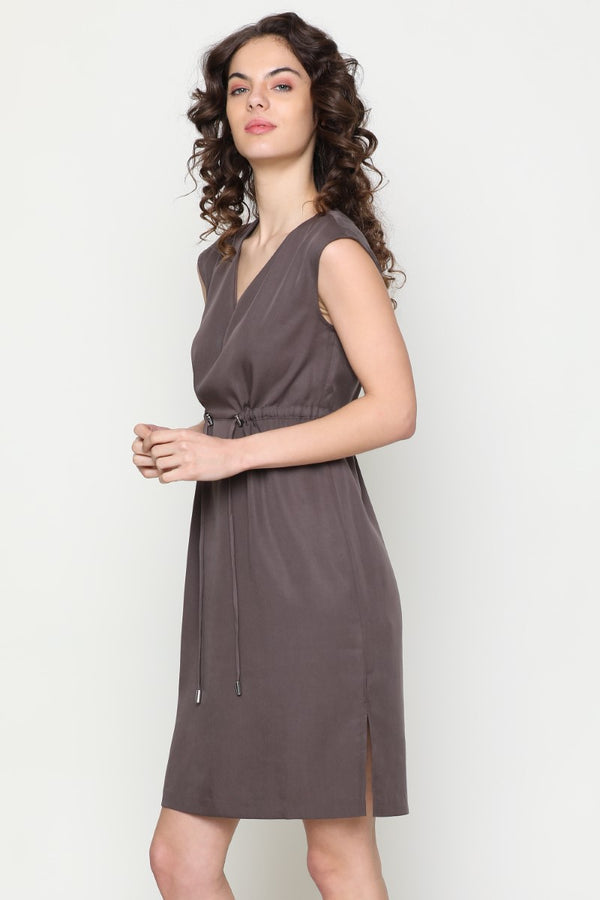 BROWN V NECK DRESS
