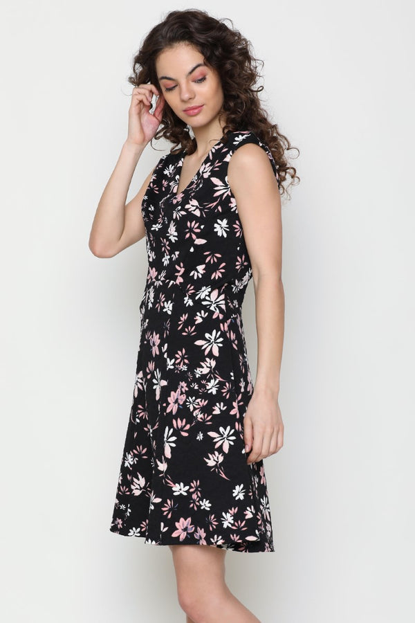 BLACK V NECK FLORAL DRESS