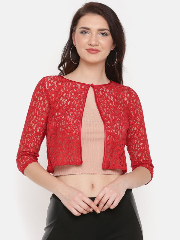 RED LACE SHRUG