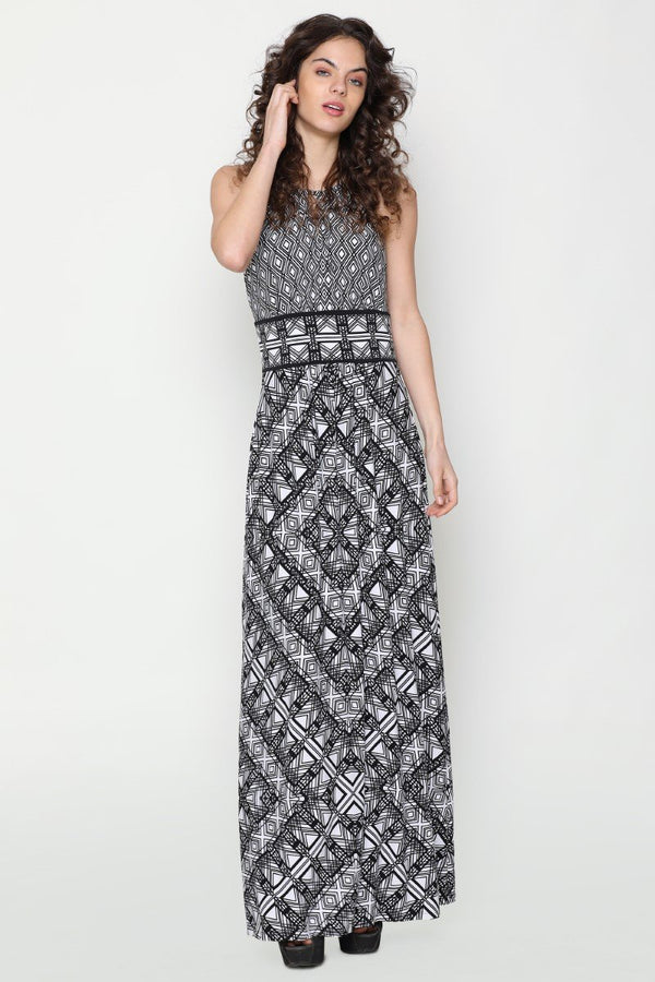 Harriet Halter Neck Dress (Diamond Print)