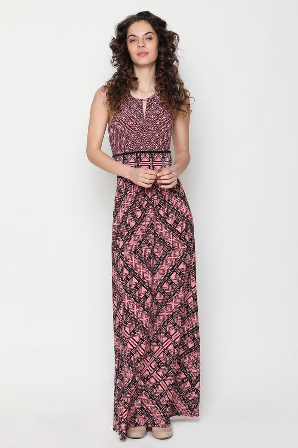 Harriet Halter Neck Dress (Monochrome Print)