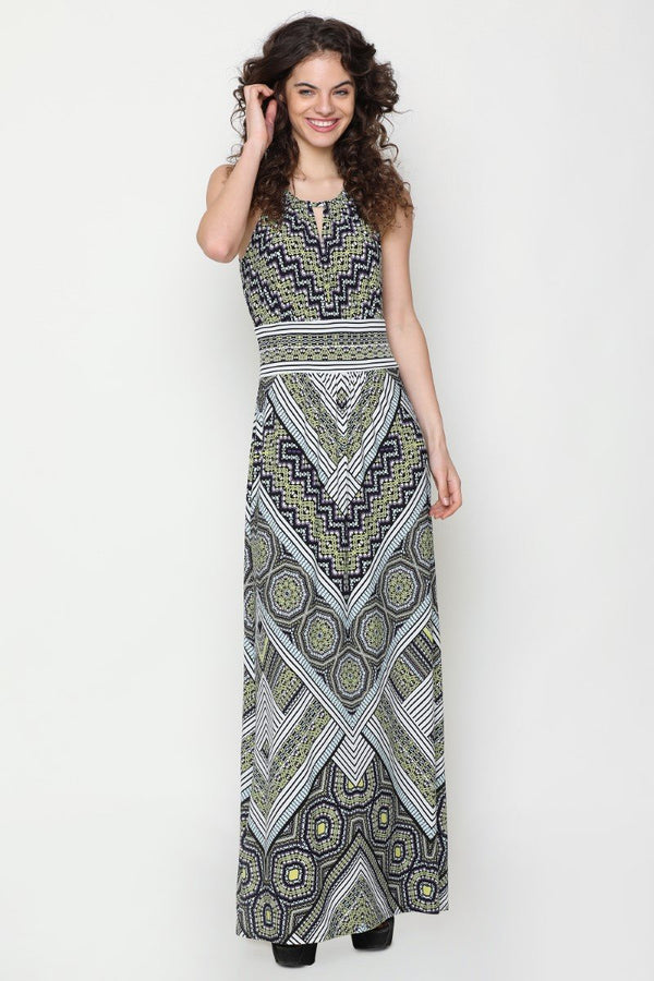 Harriet Halter Neck Dress (Chevron Print)