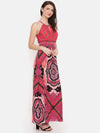 Harriet Halter Neck Dress (Fuchsia Print)