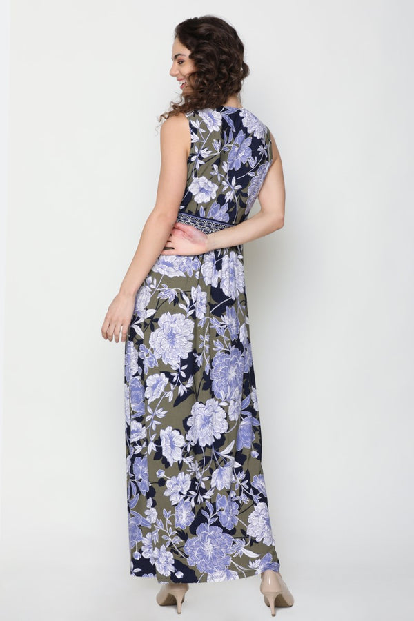 MULTI COLOURED FLORAL PRINT MAXI DRESS