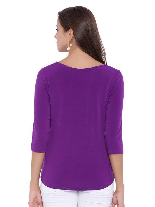 Purple Round Neck Top