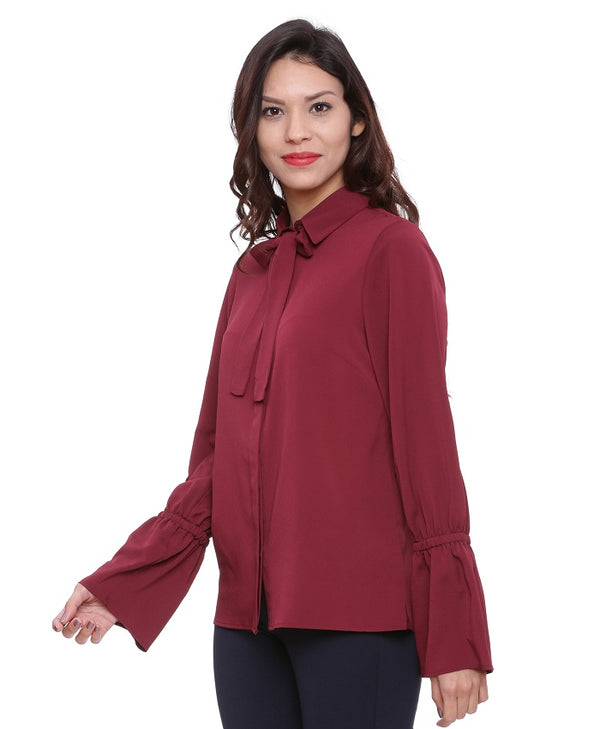 Wine Collar Knot Top