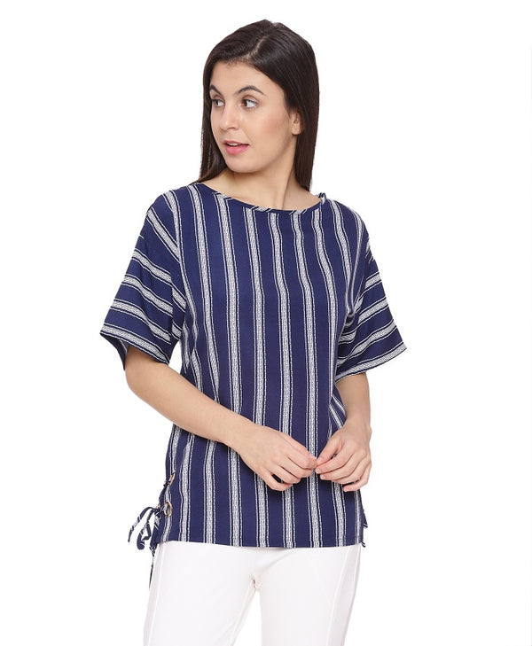 Navy White Stripe Top
