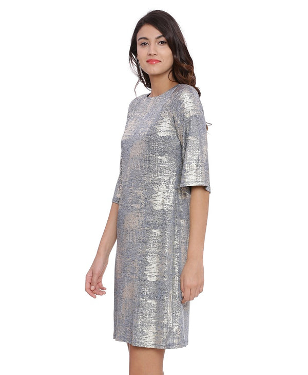 Larna Foil Jersey Dress