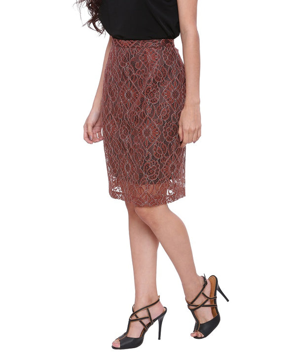 Harper Brown Lace Skirt