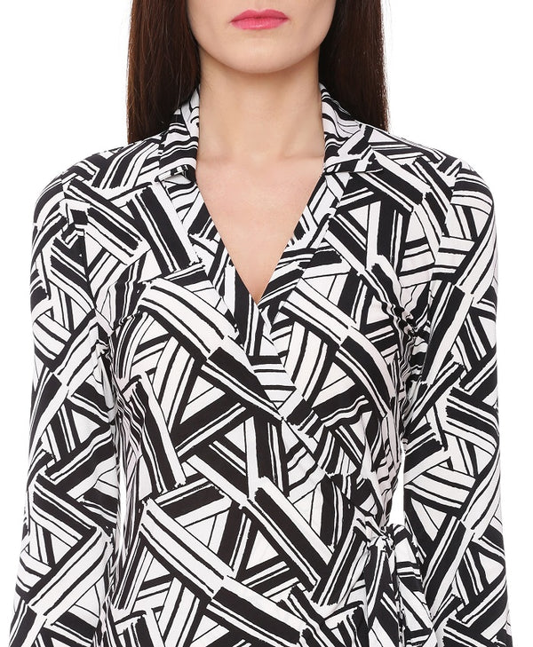 Black And White Geometric Print Dress