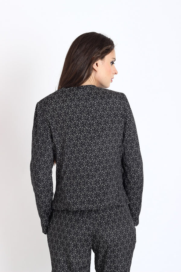 Black digital print jacket