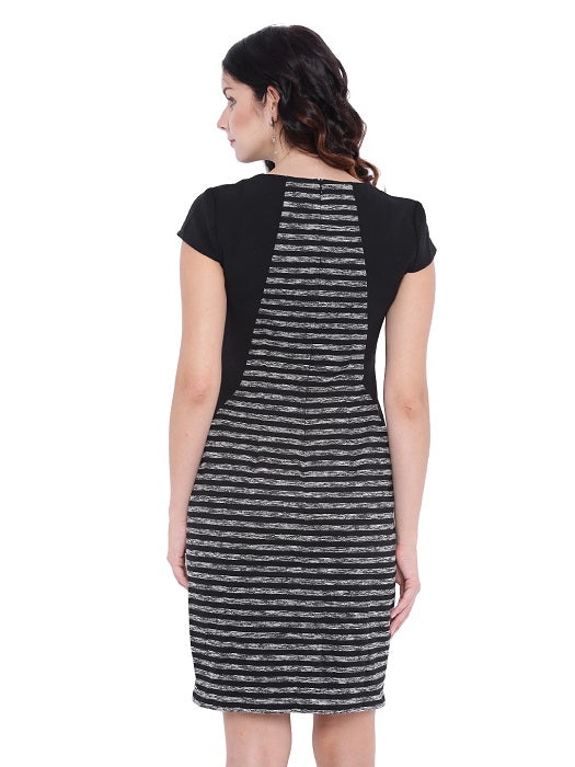 Black Formal Stripe Dress