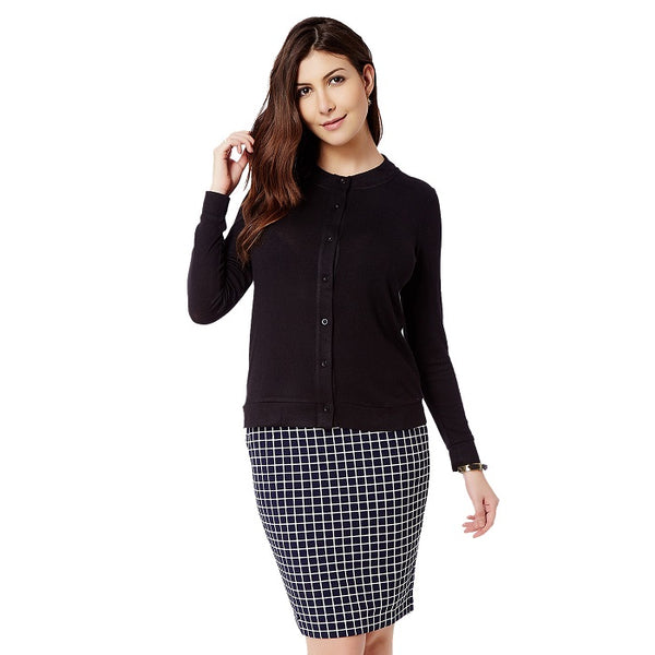 Black Front Button Cardigan