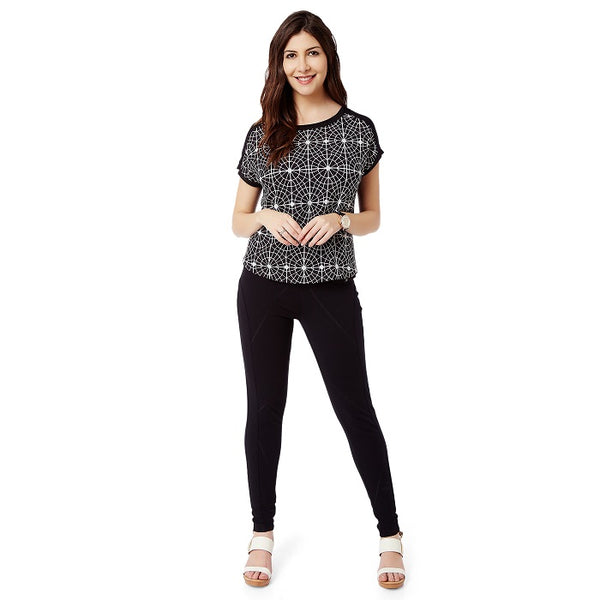 Black Geometric Print Top