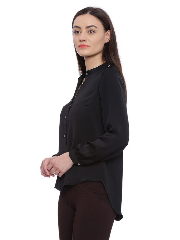 Black High Low shirt style top
