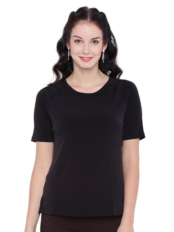Black Jewel Neck Top