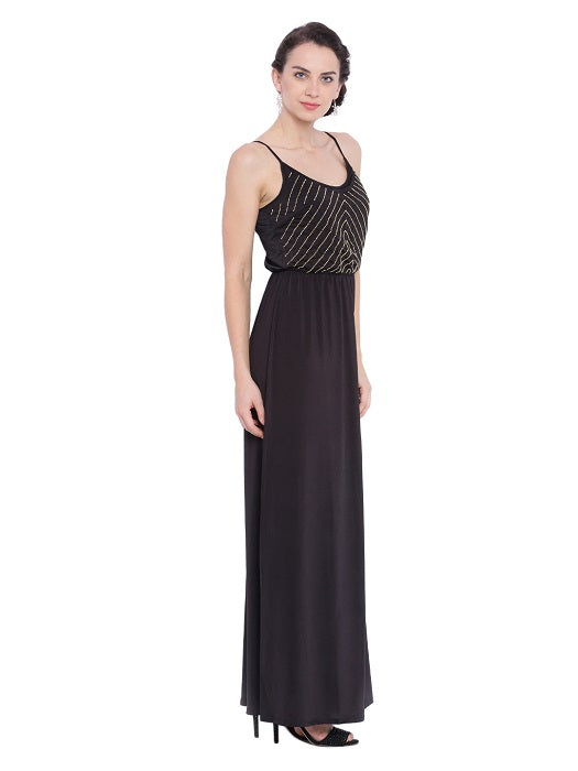 Black Maxi With Golden Embelishment