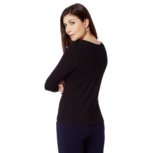 Black Overlap Cardigan
