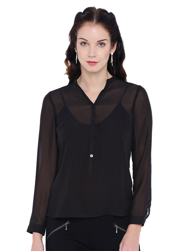Black Sheer Georgette Top
