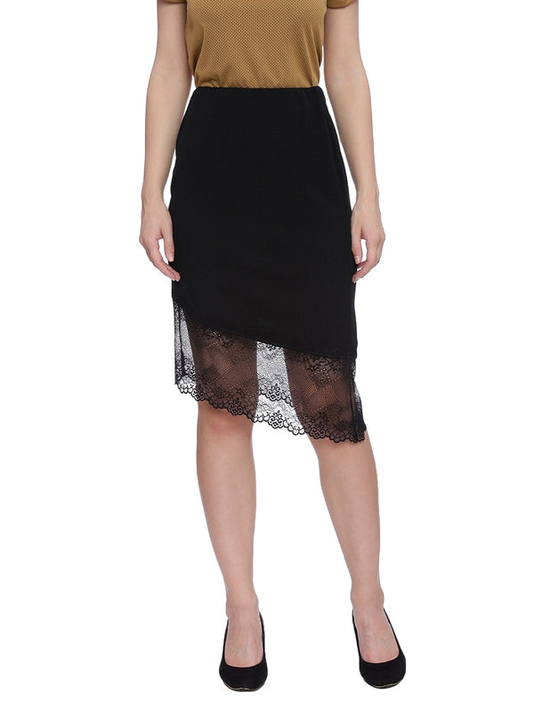 Black skirt with lace hemline