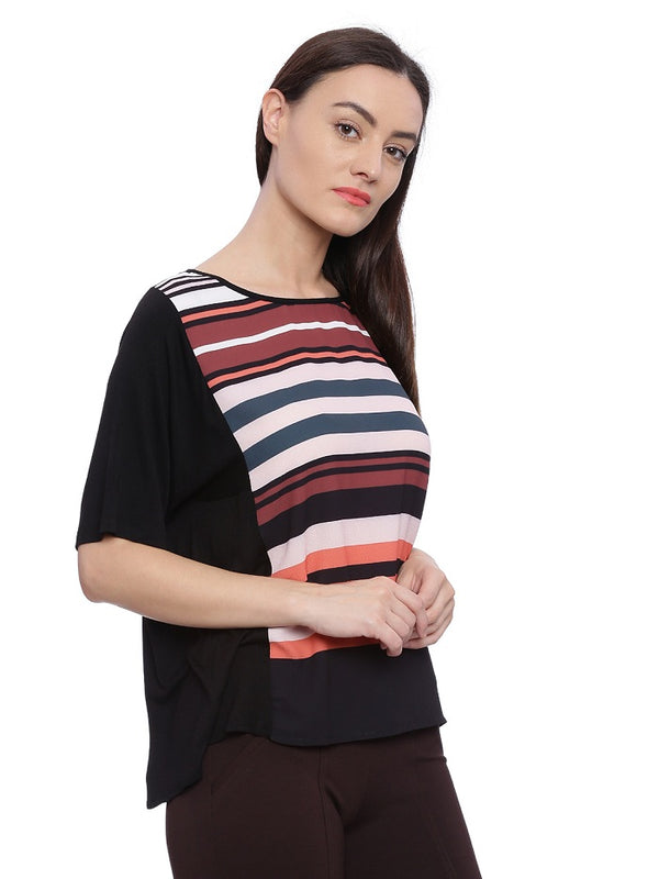Black top with multi color stripes