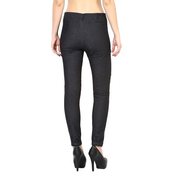 Black Trouser With Leather Patch